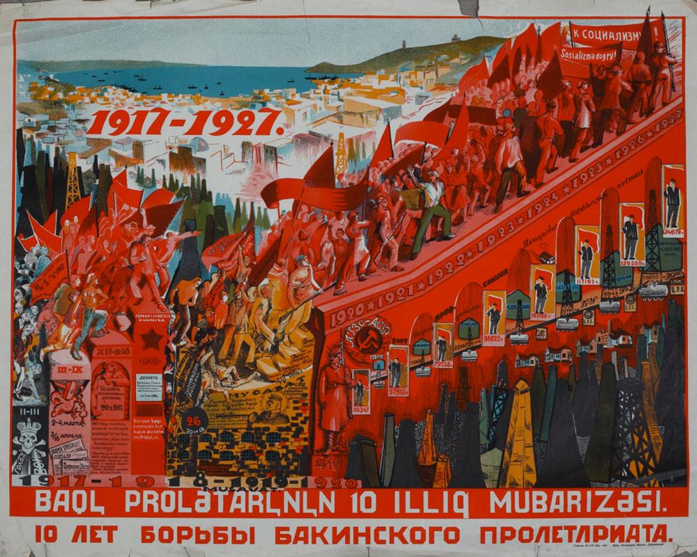 Desetogodišnja borba proletarijata grada Bakua. 1917-1927 (1927.). Tekst na ruskom i azerskom (latinica).