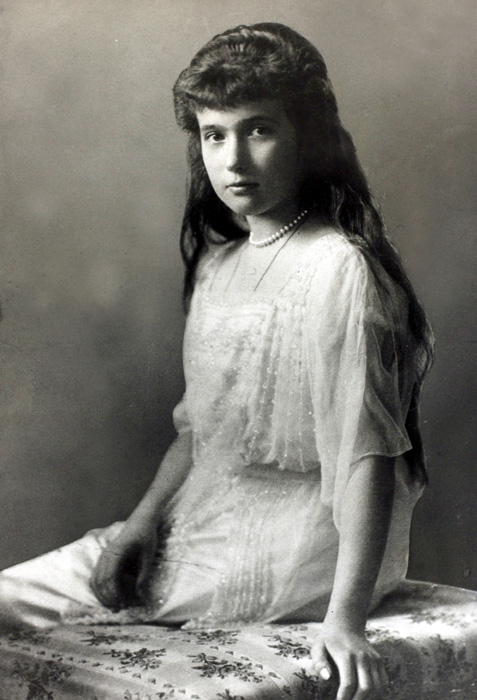 "Grand Duchess Anastasia Nikolaevna (aged 17 on the day she was shot) // ""She was a mischievous girl – a shortcoming which she corrected as she grew up. Very lazy, as is often the case with very capable children, she had beautiful French pronunciation and would act out little theatrical scenes with real talent."" (From the memoirs of Pierre Gilliard, French teacher)"