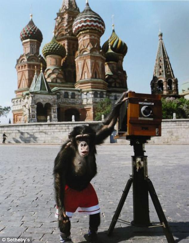ヴィタリー・コマールとアレクサンドル・メラミドにより、赤の広場で写真の撮影方法を教わったサーカス用チンパンジーのミッ キーによる写真。全部が一組となって競売に掛けられたミッキーの18枚の写真は、50,000ポンドで落札された。