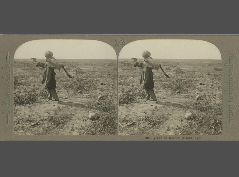 技術の変遷にもかかわらず、三次元写真の作成方法の基本的な原理は変わっていない。これには、左目で見た画像と右目で見た画像に対応する同じ対象の写真を2枚撮影する必要があり、これを同時に見つめると、1つの融合された立体写真になる。//  ザハール・ヴィノグラドフ、「ロシアの生活と自然:ヴォルガ川とヴォルガ流域」シリーズに所収の、メロン畑のかかし、1913年。銀塩印画紙