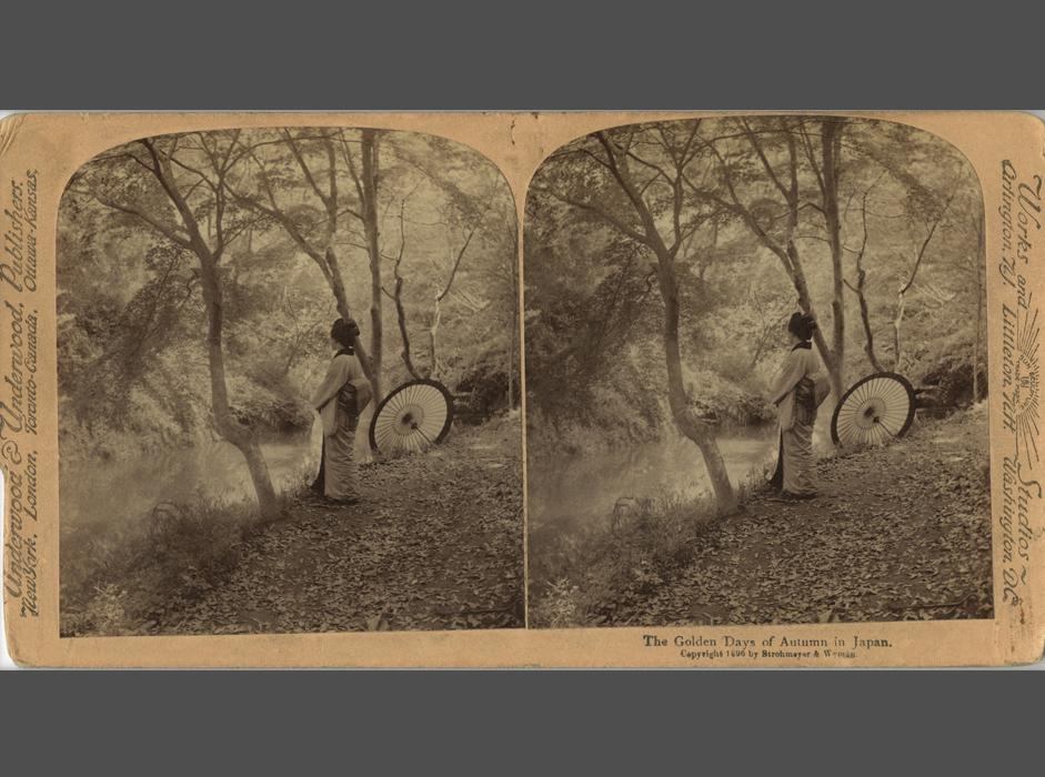 立体写真には現実を引き立たせる効果があるため、それぞれのオブジェが閲覧者の吟味に十分応えられるようになった。かつては抽象的であったあらゆること(月の満ち欠けと潮汐の関連など)に実体感が与えられ、立体鏡で観察できるようになった。// 撮影者不明、Underwood & Underwood出版社、「静寂と太陽の光線の中、穏やかに暮れる黄金色の秋の日」日本、1896年、鶏卵紙
