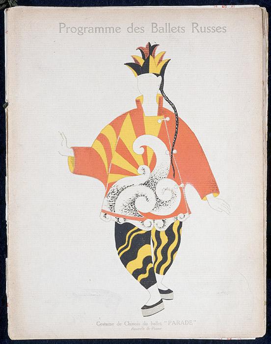 芸術プロデューサーのセルゲイ・ディアギレフは、忘れがたい上演の夜や異端的な作品でいっぱいの、話題に尽きない業績を残したが、その中でもある晩は、 100年後の今でも特別なものとして記憶されている。イーゴリ・ストラヴィンスキーの音楽、ヴァーツラフ・ニジンスキーの振付による『春の祭典』は、 1913年のシャンゼリゼ劇場の初演で、タキシードに身を包んだ観客による稀な大騒動を引き起こした。/ パブロ・ピカソ、『パラード』の中国人手品師の衣装デザイン、1917年