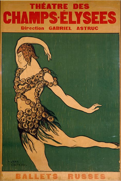 1917年上演のバレエ『パラード』を鑑賞すると、パブロ・ピカソの衣装、きめ細かい振付と、ストラビンスキーの音楽に感銘を受けずにはいられない。この バレエは、今の時代であっても、爽やかに身が引き締まるようで現代的だ。/ ジャン・コクトー、『バラの精』のヴァーツラフ・ニジンスキー、パリ、シャンゼリゼ劇場での初演のためのポスター、1913年