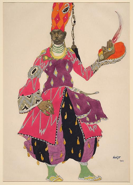 ディアギレフの輝かしいキャリア、そして、自分が生きた時代の美学を彼が推進した方法は、鮮明に活気づけさせるような詳細さで、国立芸術ギャラリー(NGA)の展示「ディアギレフとバレエ・リュス 1909〜1929年」で再現されている。/レオン・バクスト『シェヘラザード』の宦官の衣装、1922年
