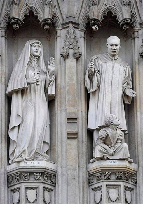 Ten 20th-century Christian martyrs from across the world are depicted in statues on the facade of Westminster Abbey, above the Great West Door, in London; the fourth from the left is Grand Duchess St. Elizabeth of Russia. / Grand Duchess Elizabeth Feodorovna. Sculpture. Westminster Abbey, London.