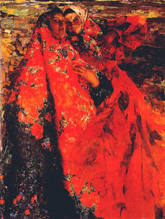 伝統的な背景、大きく描かれた人物、奥行きのあまりない空間、そして異様にめざましい色彩が特徴のマリャービンの大胆な絵画は、わざとそれを際立たせるかのように装飾的だ。/ 小作農の女、1904年