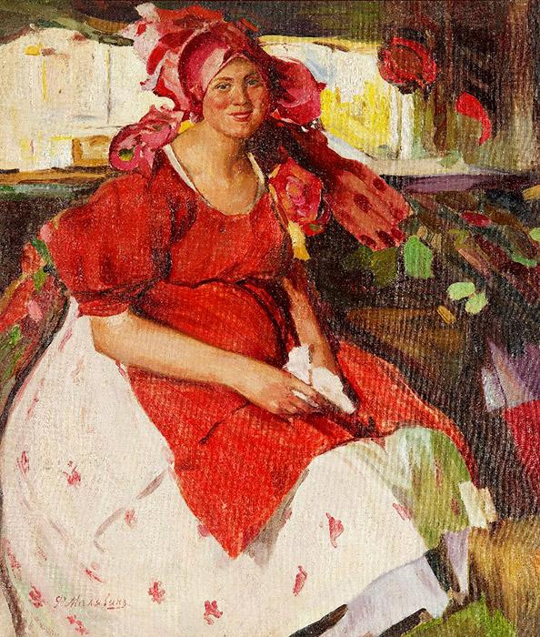 赤の色が、古代イコンの画家だった時以来、初めてマリャービンの絵画に用いられるようになったのは、注目に値する。/ 赤いドレスを着た小作農の女性、1905年