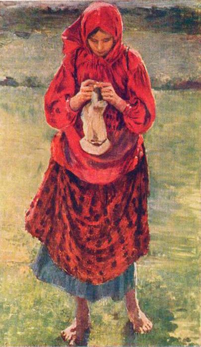 1892年に、修道院でイコン画家になることを諦めたマリャービンは、志願してロシア帝国美術アカデミーの美術科に入学した。フィリップ・マリャービンは、現代主義的スタイルの要素を内包した『花盛りのロシアの小作農の女たち』という一連の絵画で有名になった。ストッキングを編む小作農の女の子、1895年。