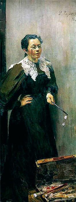 若き芸術院会員の絵画は、パーヴェル・トレチャコフによって自身のギャラリーのために購入されたほか、新聞にも取り上げられた。まもなくこのアーティストは、注文により大がかりな肖像画を描くようになった。/ アーティスト、アンナ・オストロウモワの肖像画。