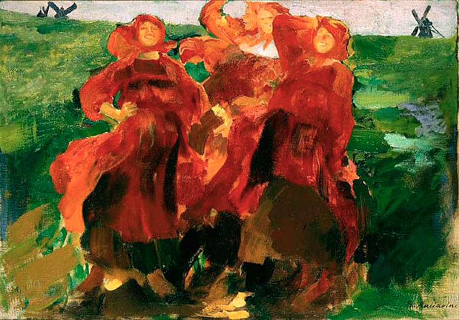 マリャービンの作品『笑い』(1899年)は旋風を引き起こした。このすばらしく鮮やかな色と太く力強い筆遣いは関心を集め、熱 い論争の種となった。この作品は、1900年にパリで開催された国際博覧会で金賞を受賞した。