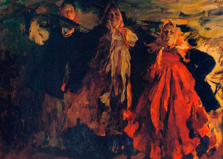 """Храброто сликарство на Малјавин беа неговите неконвенционални позадини, големи фигури, плиткиот простор, необично силна боја и претерана декоративност. / """"Селанка"""" 1904 година."""