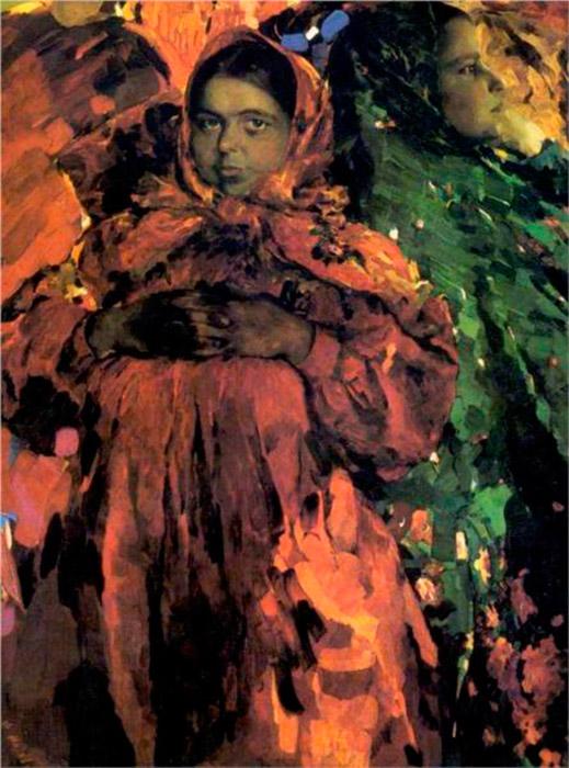 明るくカラフルな服を着た小作農の女性たちが、マリャービンの作品の主な題材だった。彼は、ロシアにおける民俗的なテーマの伝統 を独自の方法で捉え、女性の描写における力強くのびのびとした表現の新時代を強調し、同時に威厳を与えた。/ 『2人の女の子』(1910年)