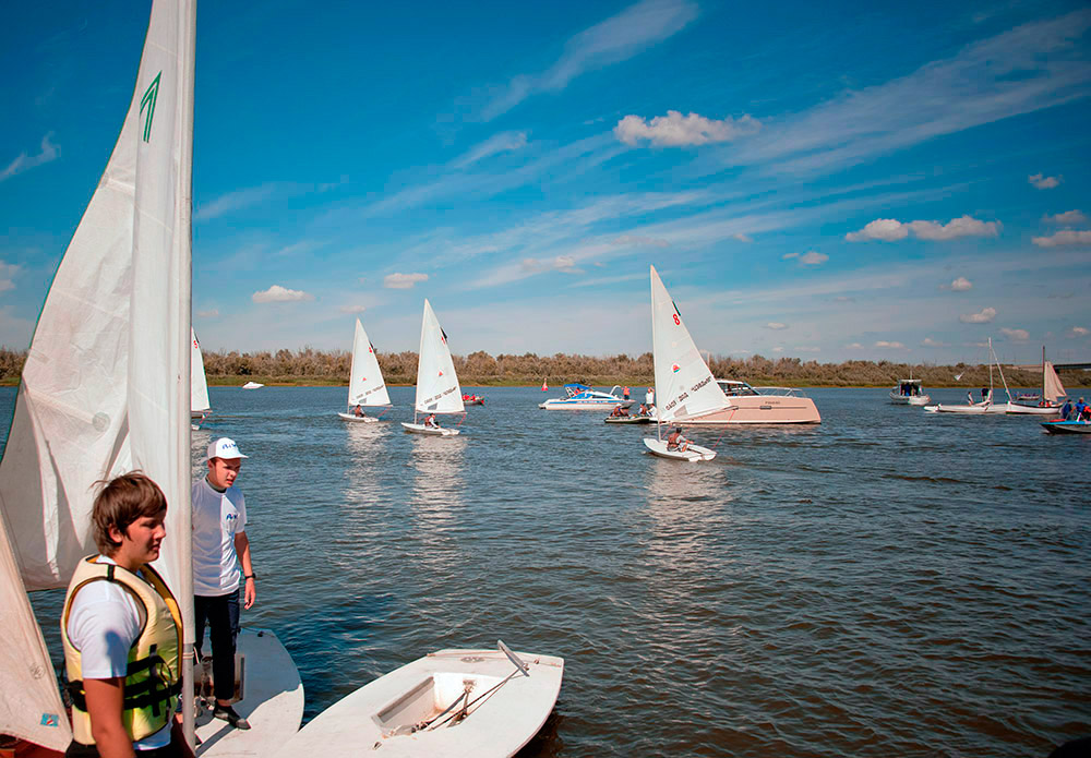Professional safeguards were on duty in case the competition's participants couldn't sail the established distance.