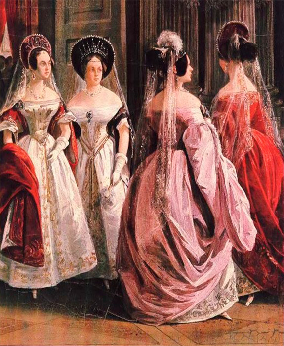Peter the Great prohibited noblewomen from wearing the kokoshnik by royal decree. But it was returned to women's court fashion by Catherine the Great who christened the fashion