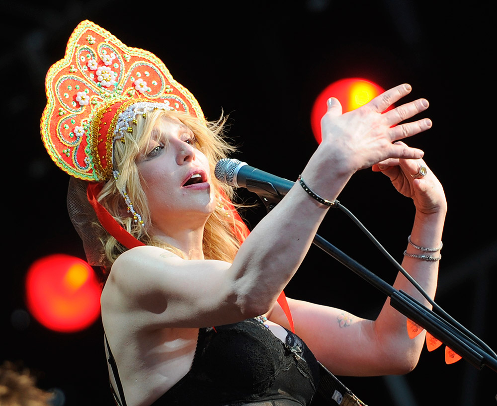 American singer-songwriter Courtney Love wearing the kokoshnik on Afisha Picnic music festival in Moscow,Russia. July 23,2011