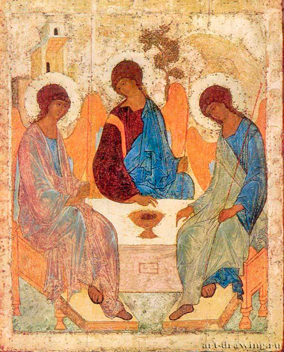 "Although Rublev's name is managed in the chronicles in relation to the construction of various churches, he became known as an artist only in the early 20 century after the 1904 restoration of ""The Trinity"". In Rublev's icon, attention is centered on three angles and their silent conversation. God the Father blesses God the Sun at his death on the cross in the name of love for all people. The Holy Spirit (the right angel) is present as a consoler, confirming the profound meaning of sacrificial, forgiving love. / The Trinity, 1410"