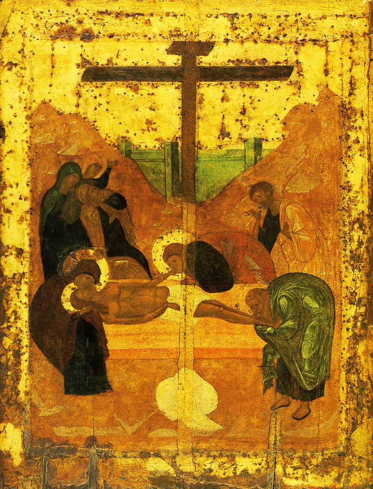 A humble monk, who dedicated his whole life to creating frescos and icons, he was respected and widely-known. However, he was forgotten by his descendants and many of his works were lost. Even at the beginning of the 20th century, some experts couldn't reliably name even one of his works. In the last years of Andrei Rublev's life, he was a monk at the Andronikov Monastery in Moscow. Rublev died of the black plague on October 17, 1428 . He listed by the Russian Orthodox Church as a saint. / Deposition of Jesus Christ, 1425