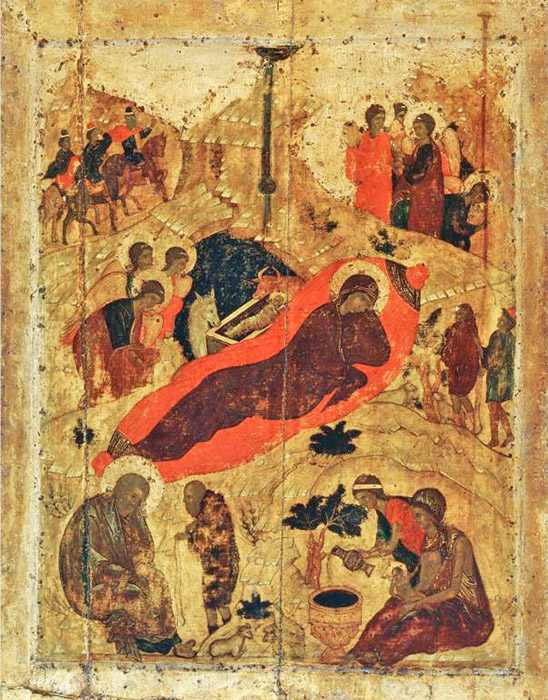 "Among Rublev's early works is ""The Birth of Christ"", also from the Cathedral of the Annunciation in Moscow. A fan of vibrant color in an enlightened ambiance, the creator of ""The Birth of Christ"" doesn't view forms as flat spots and silhouettes, but rather, as light presence in a shall, but somehow vast space. Everything shown in it is vested with significance, but also great freedom, both spatial and spiritual. / The Birth of Christ, 1405"