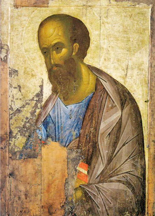 Researchers also tie the Khitrovo Gospels, the frescos of the Cathedral of the Assumption on Gorodok in Zvenigorod (around 1400), and the Zvenigorod Deesis icons (early 15th century) to Rublev. The so-called Zvenigorod Deesis is one of the most beautiful assemblies of icons from ancient Russian painting. The Deesis consists of three half-length icons of the Savior, The Archangel Michael, and the Apostle Paul. / The Apostle Paul, 1410