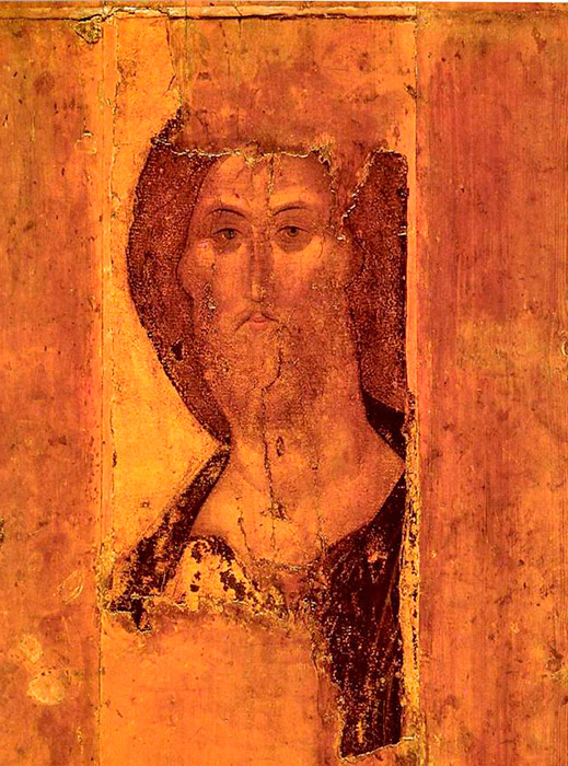 Rublev's Savior is a work that had an enormous influence on the artist's contemporaries, as well as on all future generations of Russians. He's alive, open, majestic, and, at the same time, a certain Slavic softness is felt in him; his facial features are slight. The range of colors is complete with golden and other different shades of ochre on the face, and a slightly dark, mild   sky blue. The facial expression combined with the color range creates the impression of wise serenity. / The Savior, 1410