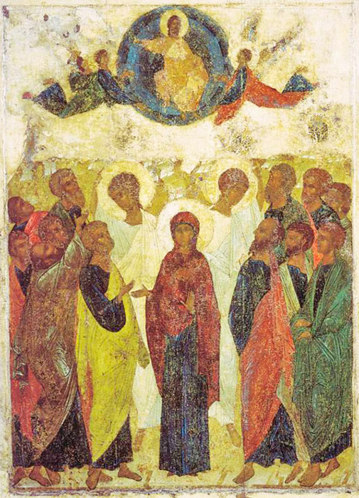 "It can be asserted with great certainty that in 1408 Andrei Rublev was sent to paint the Dominion Cathedral in Vladimir. The Vladimir Dormition Cathedral was especially revered in Ancient Rus and the Grand Princes of Moscow never ceased caring for its upkeep. The ""Ascension"" icon from the Holiday Deesis of the Vladimir Dormition Cathedral's iconostasis possesses a special rhythmic composition like none of the other multi-figured holiday icons. / Ascension, 1408"