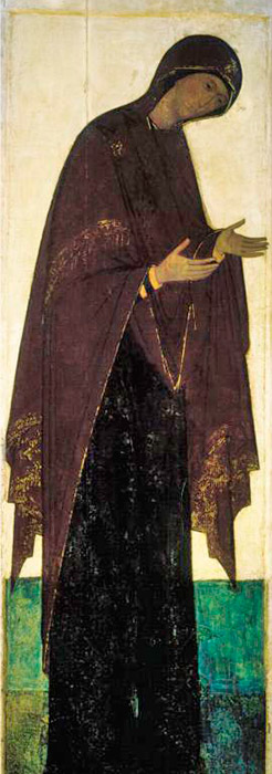 In Rublev's deesis at the Dormition Cathedral, there is an image of the young Virgin Mary dressed in dark colors that is unusually minimalist, yet conquers with its strict, noble beauty. Byzantine artists painted the Virgin Mary differently, expressing a tragic beginning in her image. This Virgin is not as young as Rublev's and is drawn in heavy, deaf tones. Russian artists strive to stir bright, cheerful feelings in the viewer. / The Virgin Mary, 1408