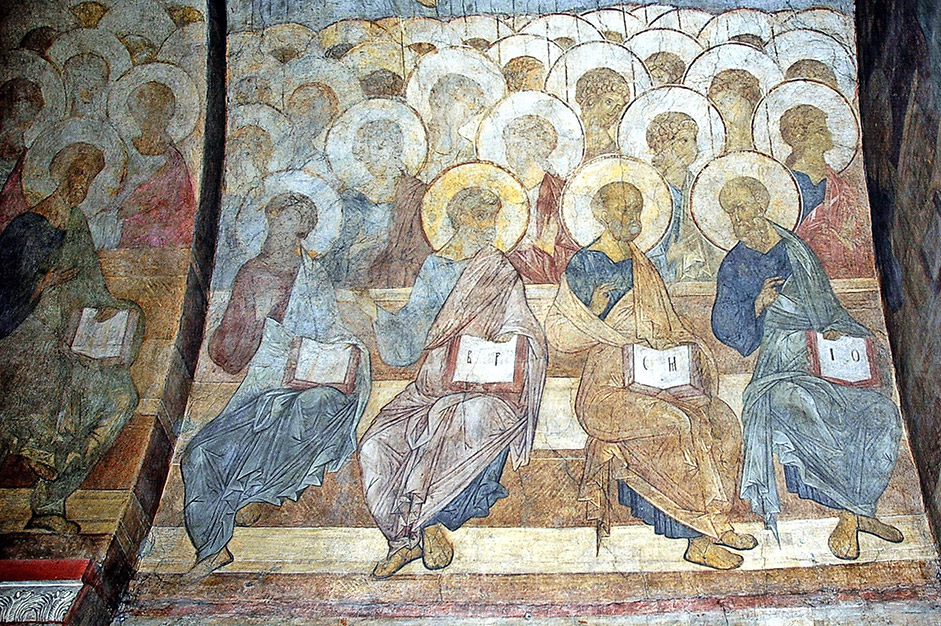 A large part of the frescos at the Vladimir Dormition Cathedral, painting in 1408, are composed of fragments of Judgment Day; the preserved frescos represent a fragment of the grandiose Judgment Day composition that occupies the Western wall of the cathedral. The emotional mood of the scene in Judgment Day is unusual in that there is no sense of horror in the face of terrible punishment, but rather the idea of forgiveness and an enlightened mood triumphs. / Judgment Day, 1408