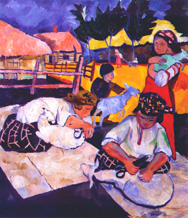 "Starting in 1904, Natalia Goncharova' exhibitions were held in Germany, France, and England. At the same time, she and Larionov contributed in forming artistic organizations like ""Bubnovy Valet"" (Jack of Diamonds), the ""Donkey's Tail"" association, and ""Target""./ Sheep shearing, 1907"