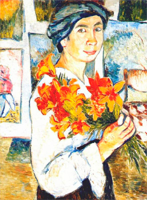 Goncharova came from an old aristocratic family and was the great-great granddaughter of the wife to the great Russian poet, Alexander Pushkin. Before she started to work with art, she attended sculpting classes at Moscow University. / Self-portrait with yellow lilies, 1907