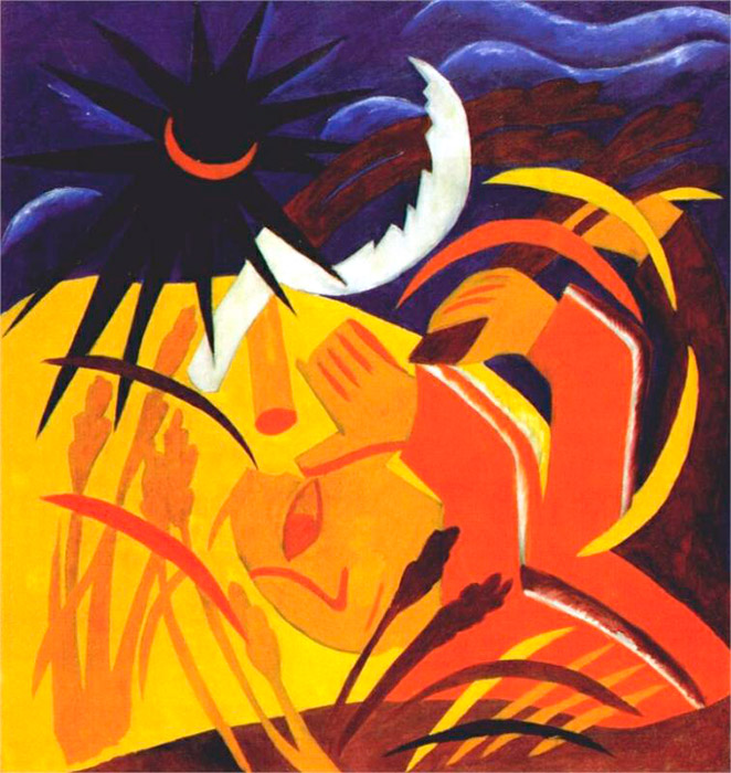 "Each cycle consists of nine paintings. In the series ""Harvest"", the apocalyptic mood related to the end of the world and Judgment Day is especially prominent. / Harvest, 1911"