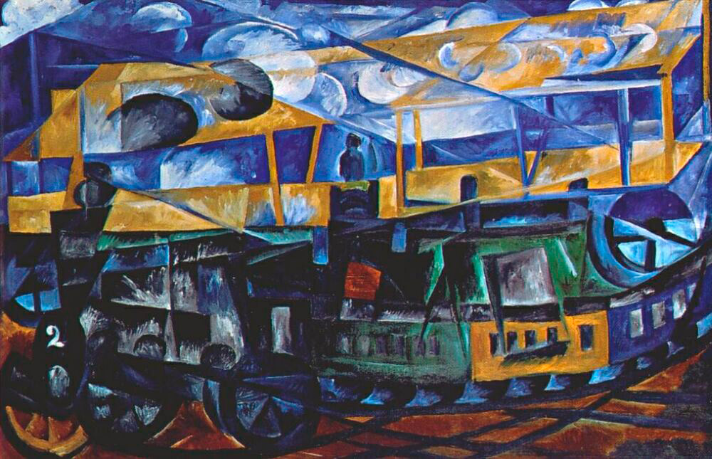 "In 1910, the artist discovered cubism and futurism, particular features of which found her way into her art. These experimentations resulted in ""Airplane over a train"" (1913)."