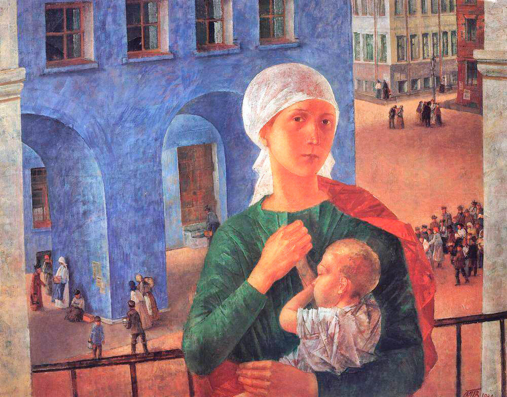 "The first painting of Petrov-Vodkin's Soviet period was 1918 in Petrograd, which, in its time, was called the ""Petrograd Madonna"". In this painting, the artist strives to embody the new essence of the mother figure: her urban, proletarian version. // Petrograd Madonna, 1918"
