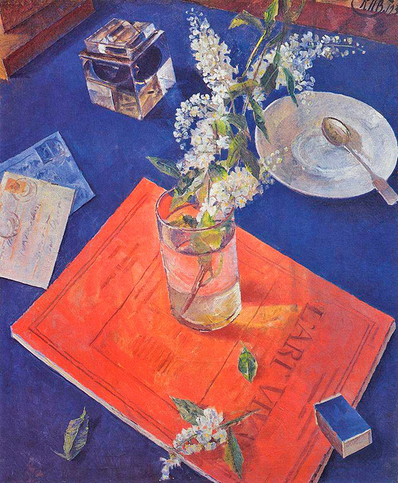 After his death, the artist's name was crossed out from Soviet art. In the subsequent quarter century, it seemed that people had forgotten about Petrov-Vodkin and his paintings had almost disappeared from museums' collections. However, sooner or later, true art receives recognition. For Petrov-Vodkin, this time came in the second half of the 1960s. // Bird cherry in a glass, 1932