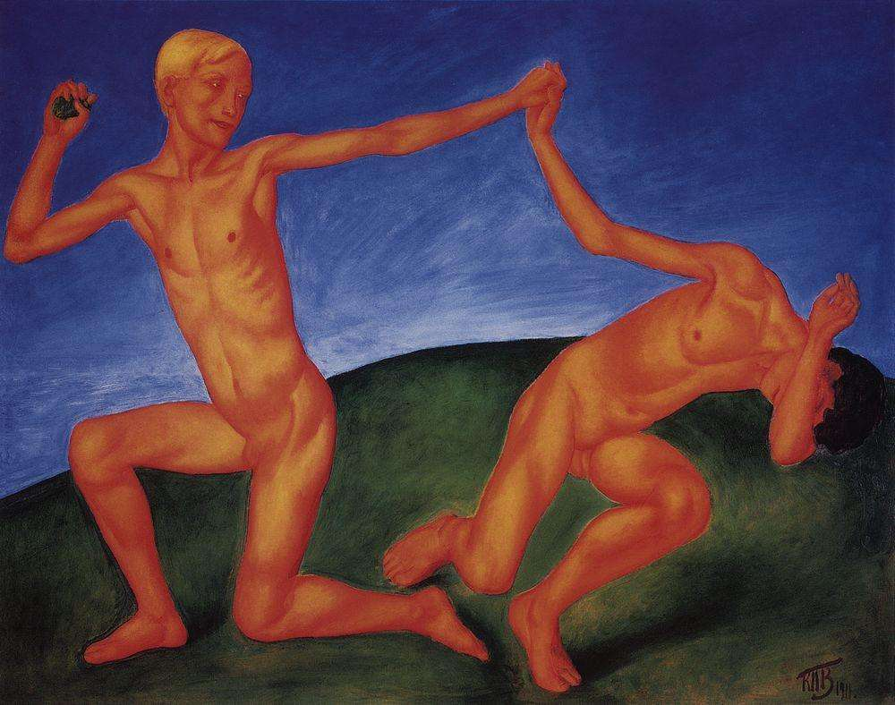 "The first and most emblematic painting of this type was Boys (or Boys at Play, 1911). Recalling his work twenty years later, Petrov-Vodkin said that Boys was ""painted as a funeral march"" for the deaths of Valentin Serov and Mikhail Vrubel. This painting, a celebration of youth and life, was a response to Russian art's recent loss of two of its greatest masters. Boys' main concept, in particular its color scheme, inevitably calls to mind Matisse's famous mural, Dance, to which Petrov-Vodkin remarked, ""You know, I think that we in Russia paint better than Matisse."" // Boys at Play, 1911"