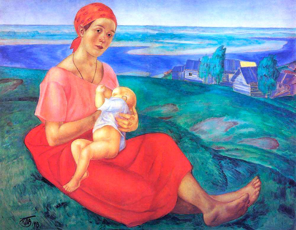 In 1912-1913, Petrov-Vodkin's art powerfully included the most important theme that defines its content: motherhood. The national type of a Russian woman, perceived to be like his painting in the depths of Russia and on the Volga, became the brightest example of Russian fine arts of the 20th century. // Mother, 1915.