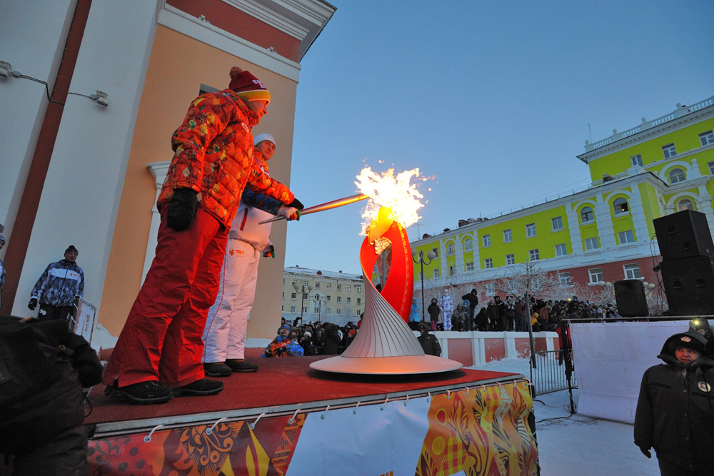 ノリリスクは、クラスノヤルスク地方で初めてオリンピック聖火を迎え入れた都市だった。聖火は飛行機によって北極圏からハンティマンシースクに届けられた。