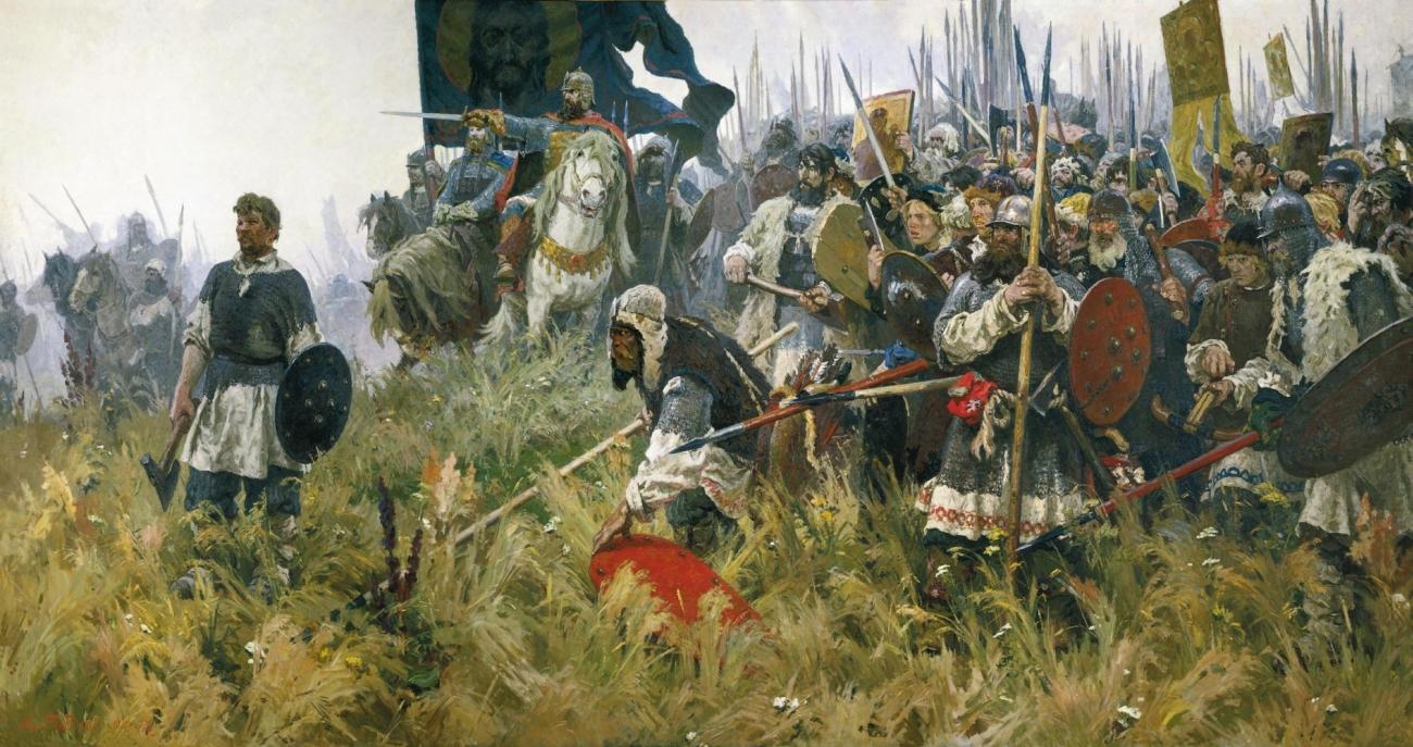 """Esempi splendidi di ciò sono apprezzabili anche in illustratori sovietici come Aleksandr Bubnov, un artista il cui nome è indissolubilmente legato al dipinto epico patriottico """"Alba sul campo di battaglia di Kulikovo"""". Fu dipinto sulla base di ballate russe nel vivo della battaglia"""