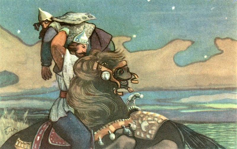 """Les plus grands succès de Malioutine à cette époque - en particulier à la fin des années 1890 - sont liés à l'illustration d'ouvrages littéraires (""""L'Histoire du Tsar Saltan"""", """"Ruslan et Ludmila"""", et d'autres œuvres d'Alexandre Pouchkine)."""