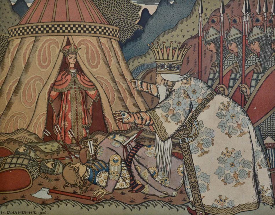 """L'illustrateur le plus célèbre était peut-être Ivan Bilibine (sur l'image : illustration de """"L'Histoire Du Tsar Saltan"""", par Pouchkine - 1906) Les experts considèrent à juste titre qu'il a obligé """"toutes les générations suivantes à percevoir les mythes locaux à travers son regard""""."""