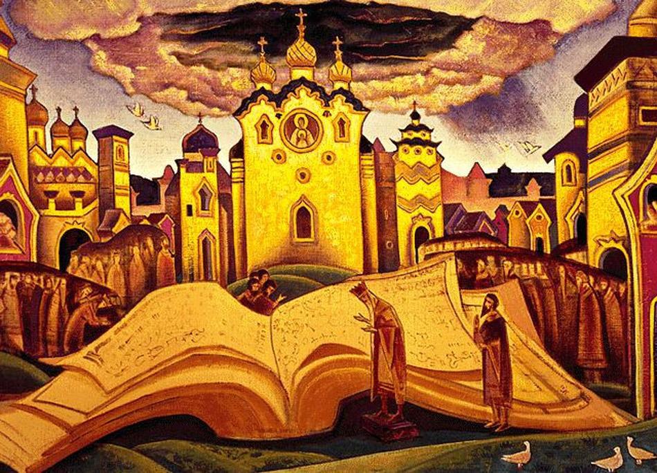 """Roerich, qui se démarquait de par son intérêt pour le spirituel et le sacré, a illustré le """"Livre de la Colombe"""", une compilation des poèmes spirituels des peuples slaves de l'Est, datant de la fin du 15e ou du début du 16e siècle. Ceux-ci racontent l'origine du monde à travers des questions/réponses."""