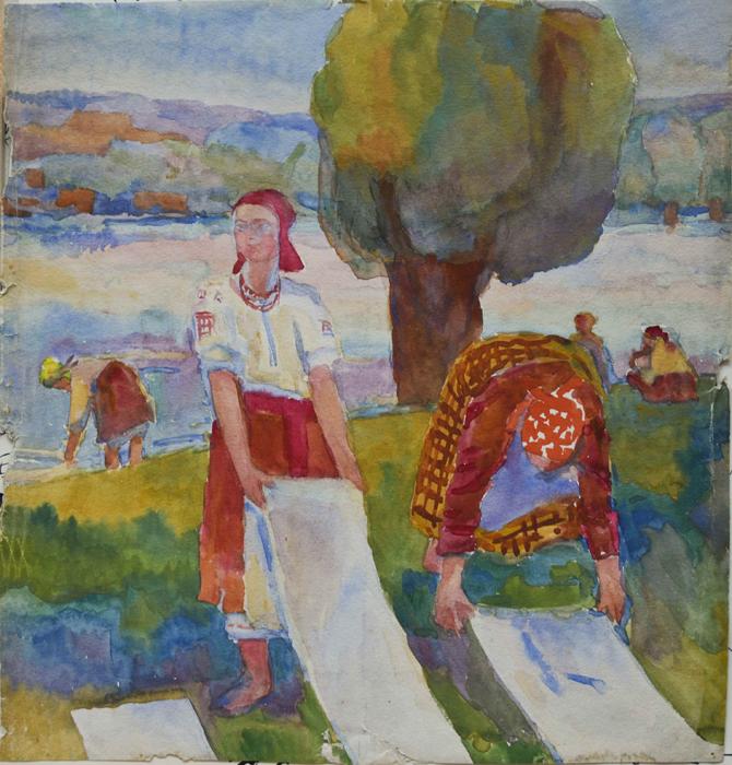 Inspirés des contes populaires russes, les tableaux d'Alexandra Konovalova, peints dans les années 20, représentent des exemples remarquables du style expressif puissant employé par Petrov-Vodkine et Deïneka.