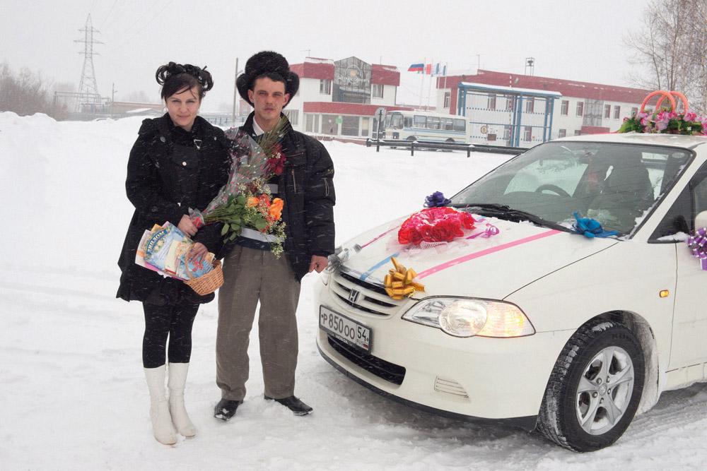 Recién casados, afueras de Novosibirsk en noviembre de 2010.