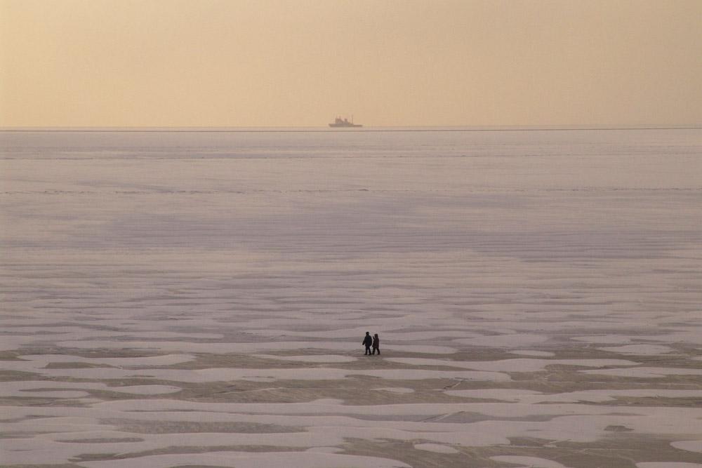 Bahía de Nagáev en invierno, región de Magadán. Lugar verdaderamente remoto...