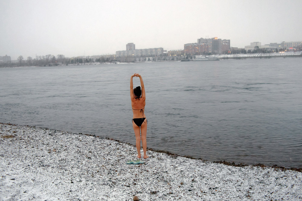 Baño en Krasnoyarsk. Noviembre de 2010.