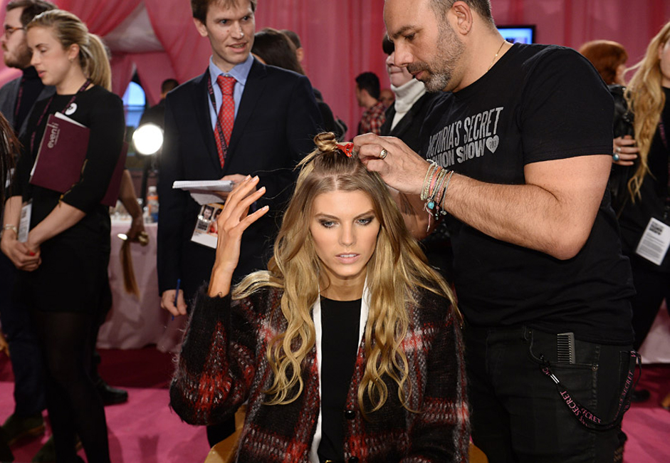 Russian model Maryna Linchuk gets ready backstage prior to the 2013 Victoria's Secret Fashion Show at the Lexington Avenue Armory in New York.
