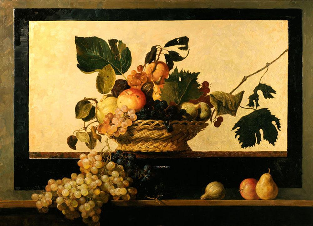 """Le cadre d'un écran de télévision de la série TVArt de la marque Gherman avec au fond, comme sur une vitrine, la fameuse Corbeille de fruits de Caravage. Cela donne l'impression que la grappe de raisins et la pomme sont tombées de la corbeille du célèbre maître italien. Et seulement après apparaît un lien visuel entre les objets, mais aussi entre les époques. «Nous sommes entourés par un fascinant monde d'objets, objets que nous ne remarquons pas et n'apprécions pas à leur juste valeur. Lorsque vous êtes confrontés à de telles œuvres, vous n'êtes pas aussi distraits, vous commencez à imaginer le sujet du tableau, vous devenez son co-auteur, un penseur», explique Sergueï Guerasimov.//""""Caravage"""", Yuri Gherman"""