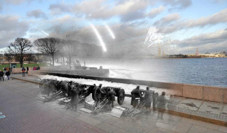 """1/16. Пре седамдесет година, 27. јануара 1944, у 20:00 испаљена су 24 плотуна из 324 артиљеријска оруђа у част пробијања опсаде града. То је била једина топовска салва за време рата – у Москви није уприличена ниједна. """"Руска реч"""" објављује серију фото-колажа на којима су представљене застрашујуће сцене из доба Опсаде Лењинграда (1941-1944) комбиноване са снимцима истих локација данашњег Санкт Петербурга."""