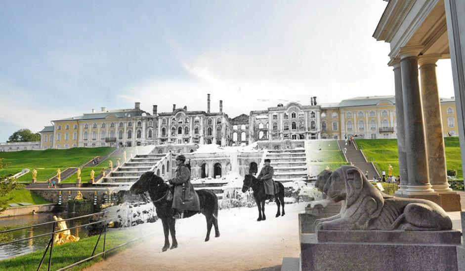 11/16. Петерхоф. Совјетски војници на коњима. Иза њих су рушевине Великог дворца и чувене Самсонове фонтане.