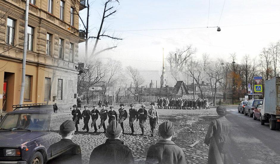 13/16. Ученици у Зверинској улици Петроградског рејона вежбају за параду. У позадини се види Петропавловска тврђава.