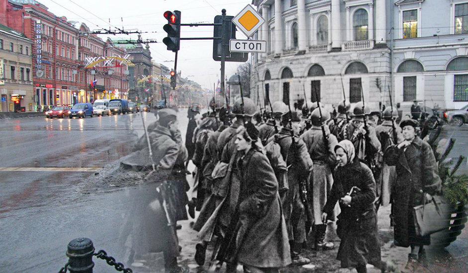 6/16. Раскрсница Невског проспекта и Садове улице. Пешаци пролазе поред војног одреда.